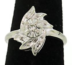 Fancy Swirling Design Diamond Accent Ring
