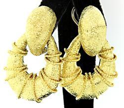 Textured Gold Door Knocker Earrings in 18K