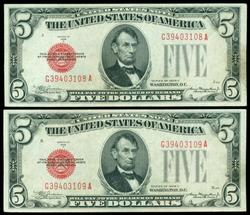 2 Consecutive Series of 1928-C $5 Red Seal Notes