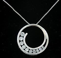 Diamond Swirl Journey Pendant Necklace