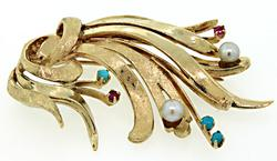 Gorgeous Vintage Brooch w/ Colorful Gemstones & Pearls