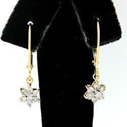 Shimmering Diamond Flower Dangle Earrings