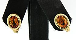 Bezel Set Citrine Earrings in 18K