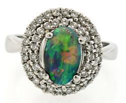 Impressive Black Opal & Diamond Ring