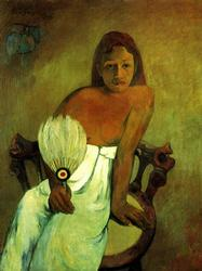 Paul Gauguin - Young Girl With Fan on Fine Art Paper