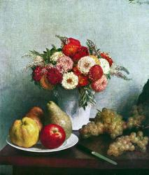 Henri Fantin - Still Life Flowers And Fruit