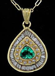 18kt Gold Emerald & Diamond Pendant