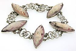 Cameo Station Sterling Silver Bracelet