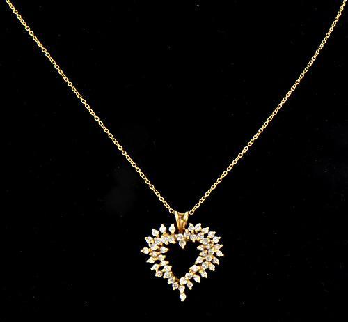 Open Heart Diamond Pendant Necklace