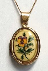 Lovely, Pansy Floral, Gold Toned 'Locket' Necklace