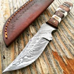 Full Tang Damascus Fixed Blade Steel Skinner Hunting Knife
