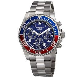 Akribos XXIV Blue Dial Chronograph, Pepsi Bezel