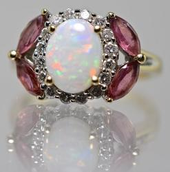 Colorful 14K Opal Ring