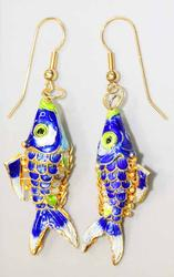Blue Cloisonné Fully Articulated Fish Earrings