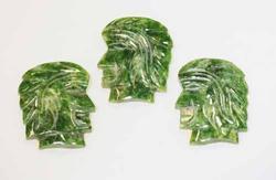 Natural Nephrite Jade Warrior Heads - Lot of 3