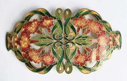 Rare, Circa 1930s 'Art Nouveau' Large Enamel 'Cloisonne' Belt Buckle