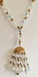 Luscious, Long, Faceted Crystals Tassel 'Chandelier' Necklace