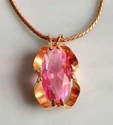 Beautiful, Pink Crystal, Modern Design Setting, Pendant Necklace