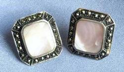 Pretty, 'Pink Mother of Pearl' & Marcasite, Sterling Earrings