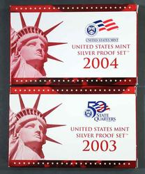 Lot of Silver 2003 and 2004 US Proof Sets