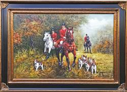 FANTASTIC HUNT SCENE OIL PAINTING ON CANVAS