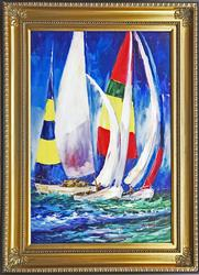BOAT RACE ORIGINAL OIL PAINTING ON CANVAS