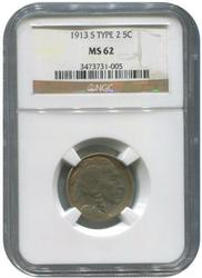 Buffalo Nickel 1913-S Type 2 Recessed MS62