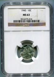 1945 Mercury Silver Dime NGC MS63 Partial Split Bands