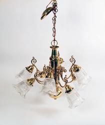 Elegant Vintage Brass Chandelier With Crystal Shades