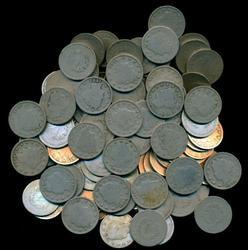 Bag with 120 assorted Liberty 'V' Nickels. Circs