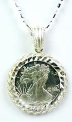 .999 Silver Millennium Eagle Coin Pendant & Chain