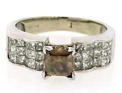 White & Chocolate Princess Diamond Ring