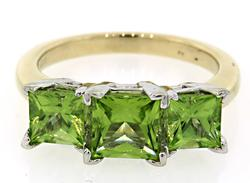 Two Tone Triple Peridot Ring, Princess Cut