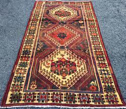 Fascinating Mid-20th C. Authentic Handmade Vintage Persian Qashqai