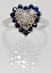 Feminine Sapphire & Diamond Heart Ring
