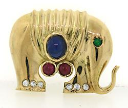 Adorable Gemstone Embellished Elephant Brooch in 18K