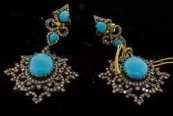 Custom made Turquoise and Diamond Earrings