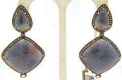 Custom made Cabochone Sapphire and Diamond Earrings
