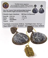Custom made Dendritic Agate & Diamond Earrings