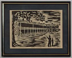 Vintage Art Block Print on Paper by Carroll Kehne
