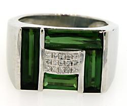Impressive Gents Tourmaline & Diamond Ring in 18K