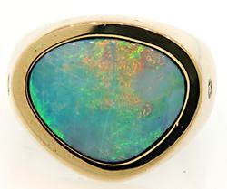 Gents Boulder Opal & Diamond Ring at 4.10 CTW.