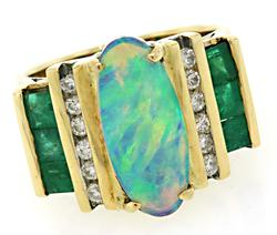 Impressive Opal, Diamond & Emerald Ring in 18K
