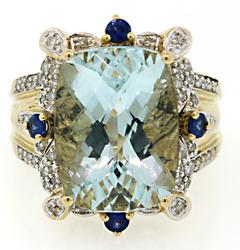 11.61 CTW Aquamarine, Sapphire & Diamond Cocktail Ring