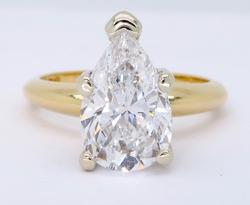 18K Yellow Gold 2.11CT Pear Cut Diamond Solitaire