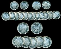 7.5 Troy Ozs of pure .999 Silver Rounds. Total 23 pcs