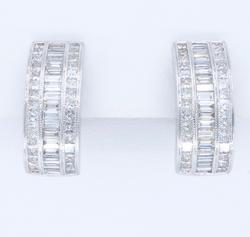 18K White Gold 4.00CTW Diamond Earrings