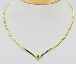 18kt Gold, Emerald, & Diamond Necklace