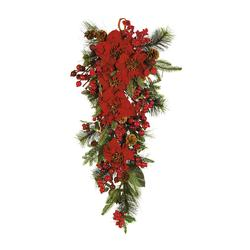 Nearly Natural Poinsettia Teardrop Red/Green