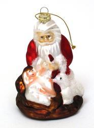 Roman Molded Glass Kneeling Santa Ornament